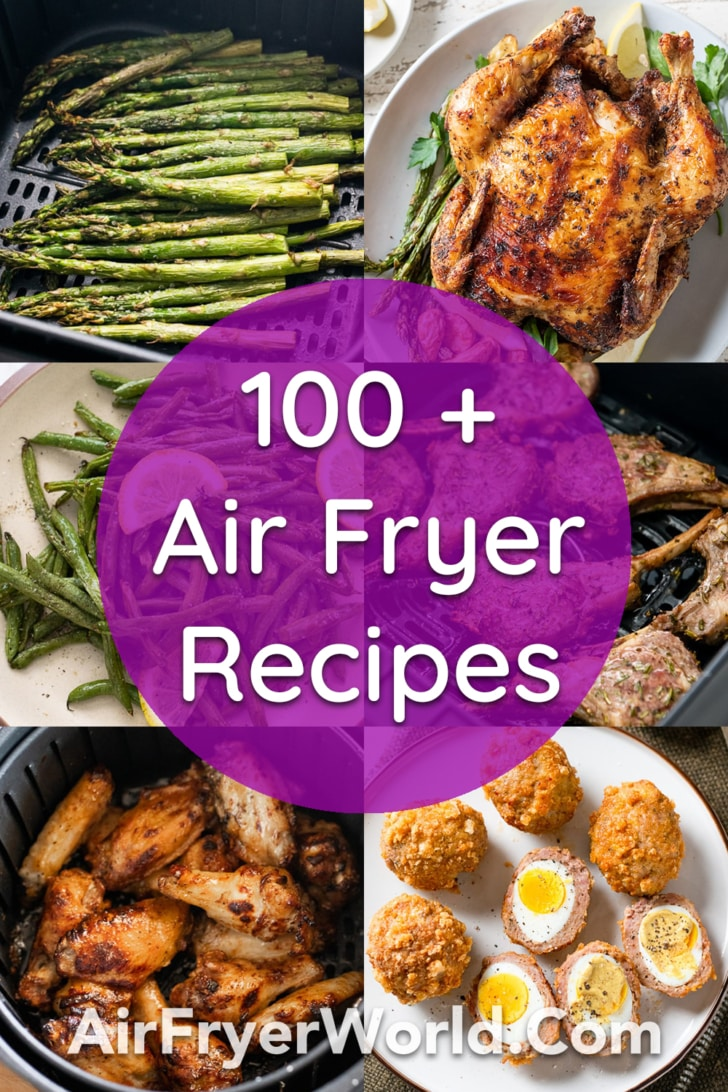 Healthy air fryer dishes and recipes like salmon and vegetables on AirFryerWorld.com