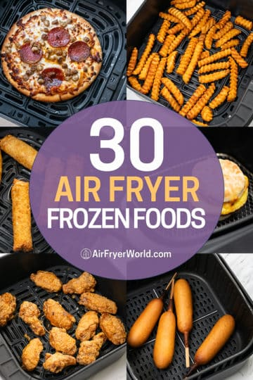 Frozen foods collage in a basket