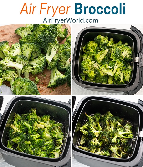 Easy Air Fried Broccoli Recipe in the Air Fryer step by step photos