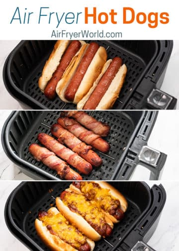Air Fryer Hot Dogs in a basket