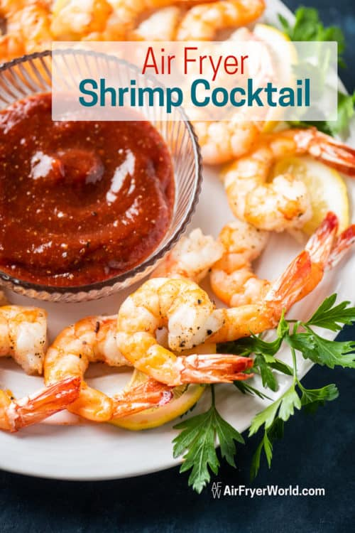 Air Fryer Shrimp Cocktail on a plate
