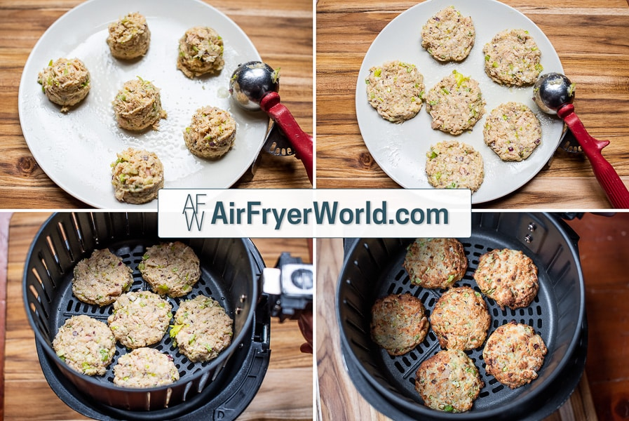 Flatten out the fish cakes and keep their round shape. Brush with oil.
