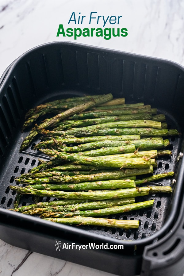 Air Fryer cooked Asparagus in a basket