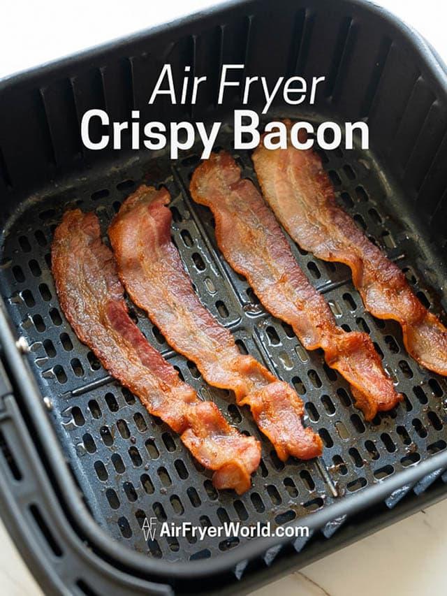 Air Fryer Bacon in a basket
