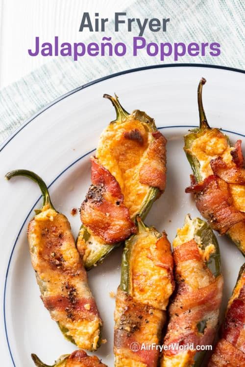 Cooked bacon wrapped jalapeño poppers on a plate