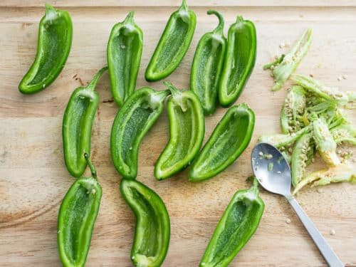 Jalapeños cut in half and seeded