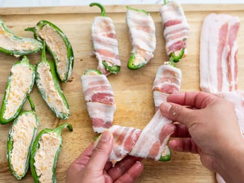 Wrapping a popper in bacon