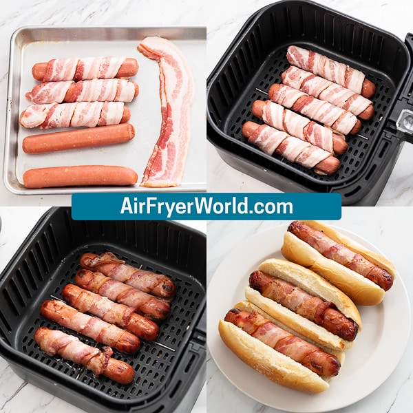 Air Fryer Bacon Wrapped Hot Dogs step by step photos