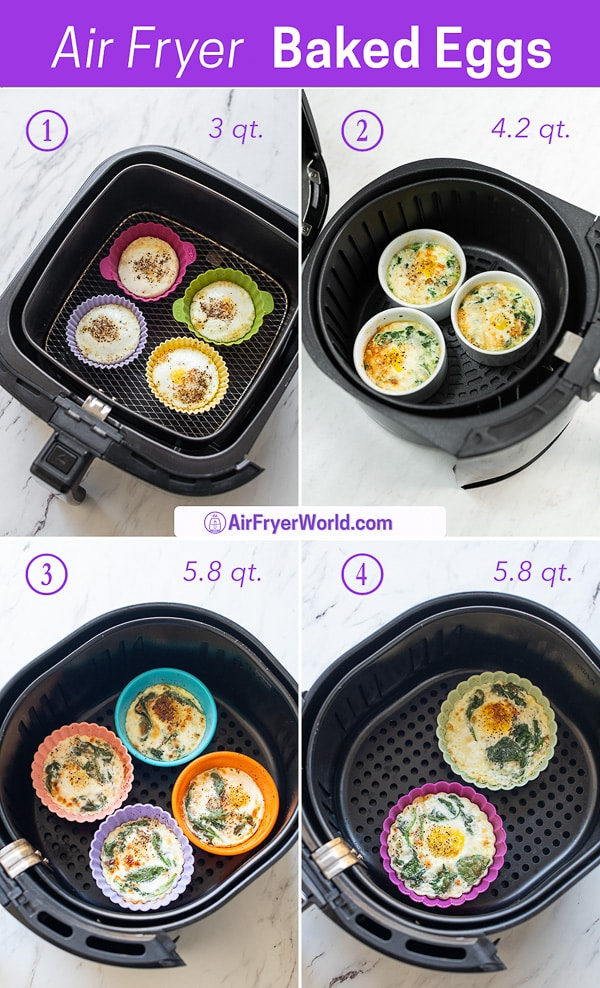 Eggs in accessory pan or basket with silicone cups