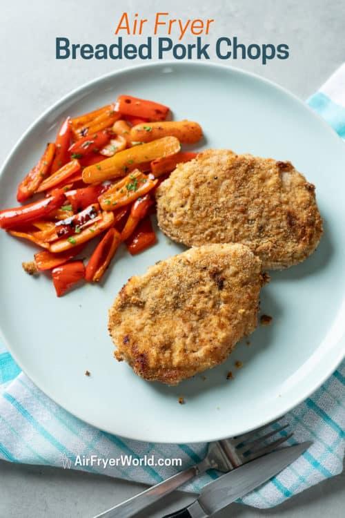 Air Fried Breaded Pork Chops Recipe in Air Fryer on a plate