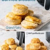 3 types of canned biscuits on plates