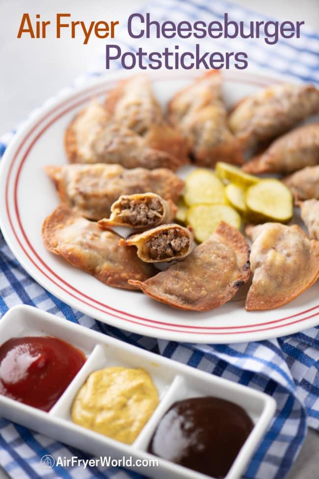 Air Fryer Cheeseburger dumplings or potstickers cut in half