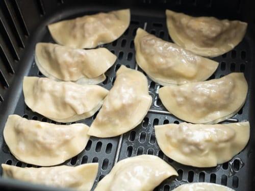 Dumplings in air fryer basket
