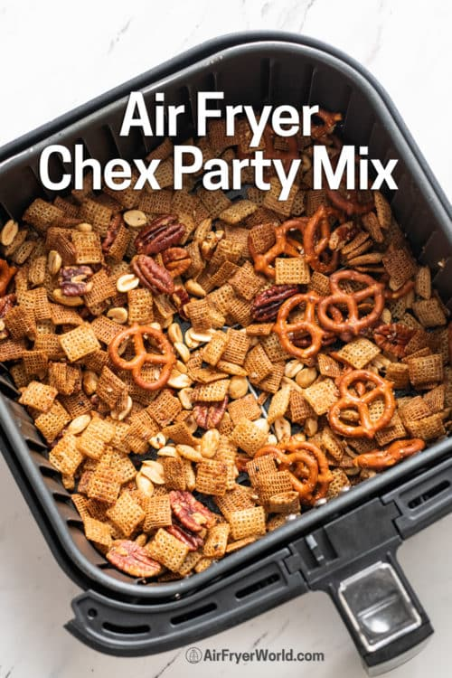Air Fryer Chex Party Snack Mix in a basket