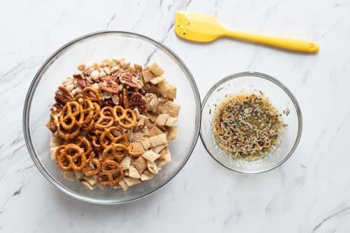 Seasonings and cereals in bowls