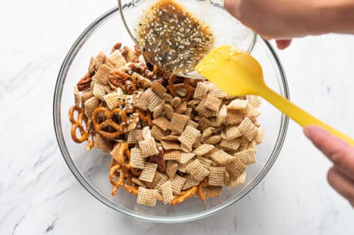 Coating cereals with seasoned butter mix