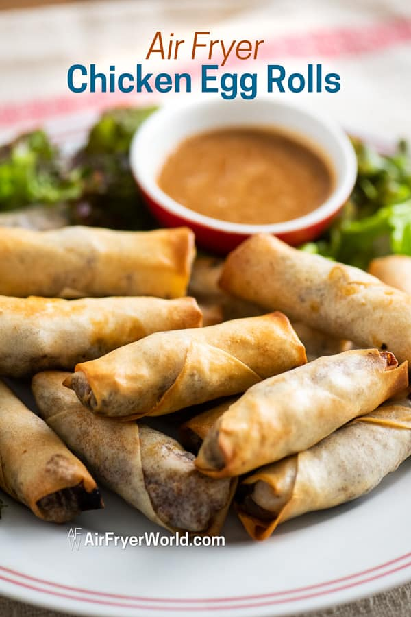 Easy Air Fried Chicken Egg Rolls Recipe in the Air Fryer on a plate