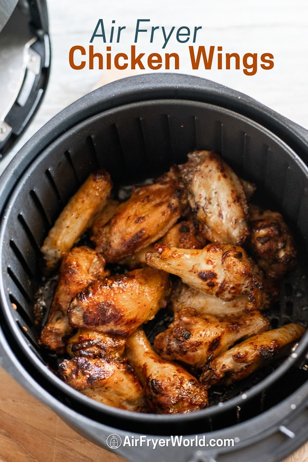 Easy Air Fried Chicken Wings in Air Fryer in a basket