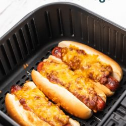 Air Fryer Chili Cheese Hot Dogs | AirFryerWorld
