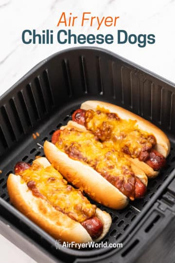Air fryer chili cheese hot dogs recipe