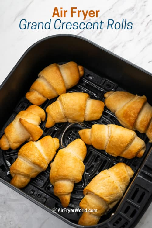 Air Fryer Crescent Rolls (Canned Refrigerated) Air Fried Croissants in a basket