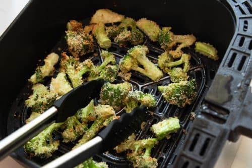 Turning broccoli in air fryer