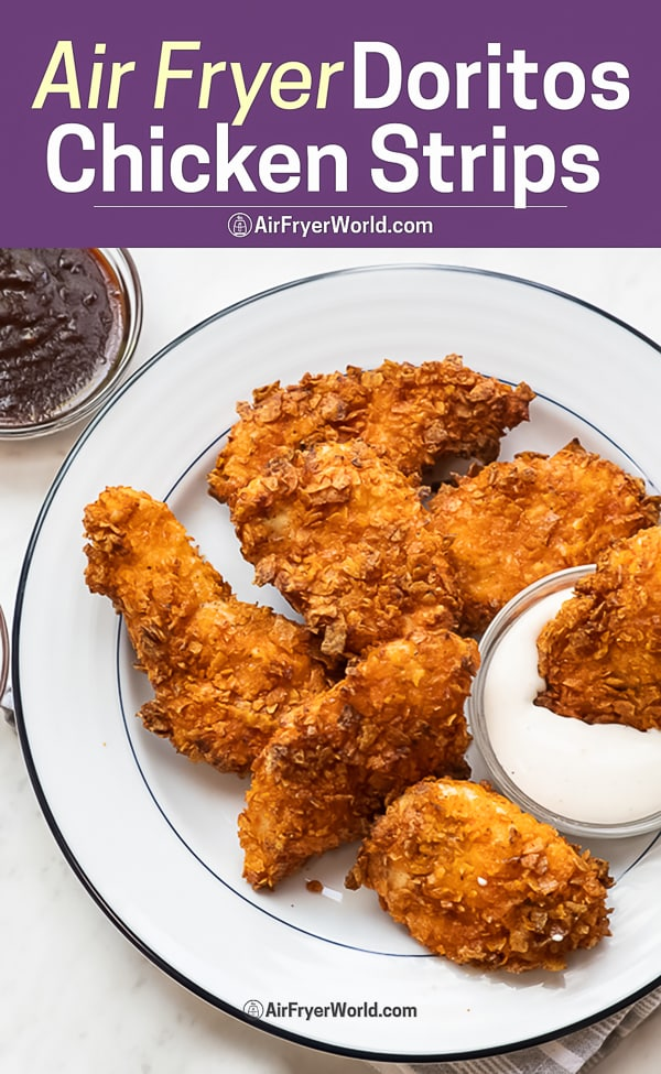 Air Fryer Doritos Crusted Chicken Strips or Tenders on a plate
