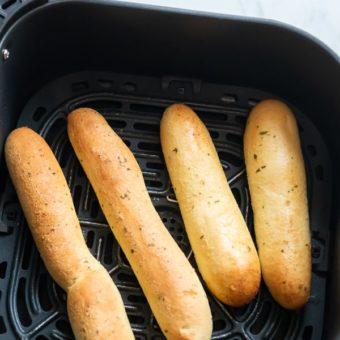 Air Fryer Frozen Breadsticks Recipe and Air Fried Cheese Bread Sticks | AirFryerWorld.com