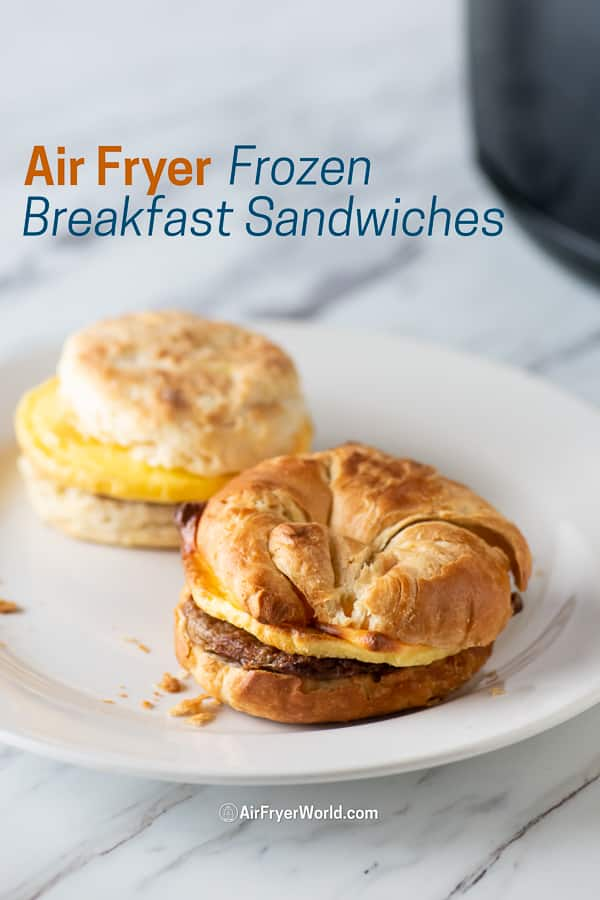 Air Fryer Frozen Breakfast Sandwiches on a plate