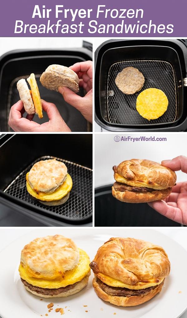 Air Fryer Frozen Breakfast Sandwiches step by step photos