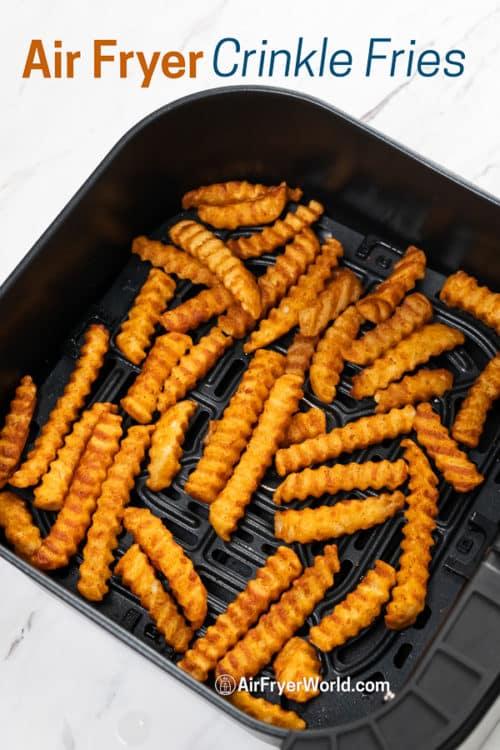 Cooked Crinkle Cut Fries in Air Fryer basket
