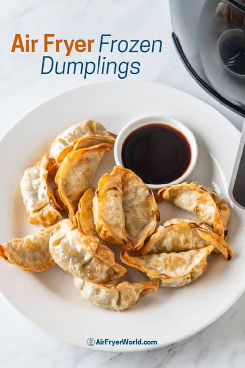 Air Fryer Frozen Dumpling, Potstickers, Gyoza, Wonton Recipe on a plate