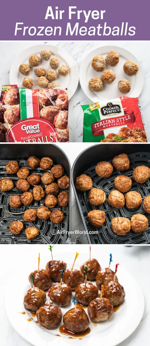 step by step cooking frozen meatballs in an air fryer