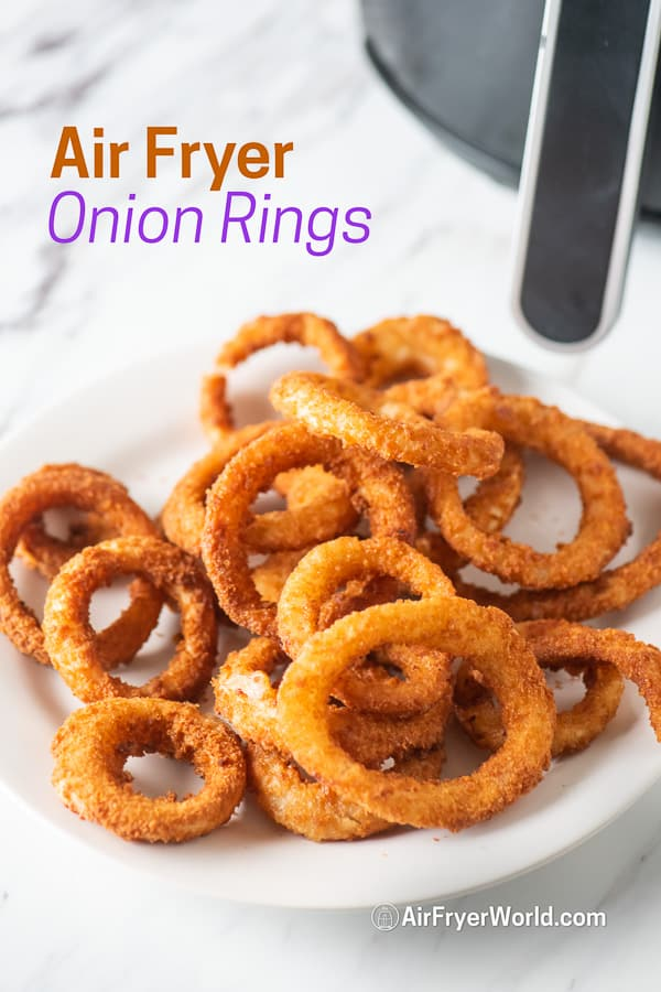Air fried onion rings on a plate