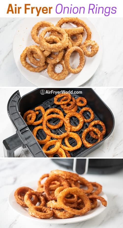 step by step making onion rings from frozen in air fryer