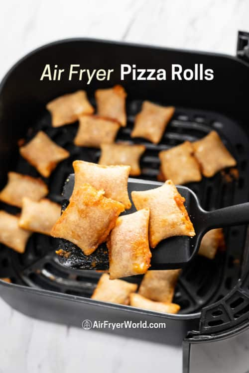 cooked pizza rolls on a spoon