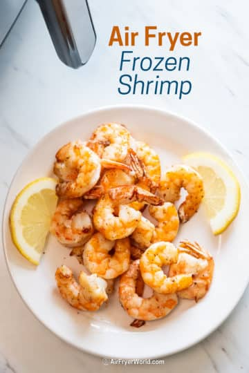 Air Fryer Frozen Shrimp Recipe on a plate