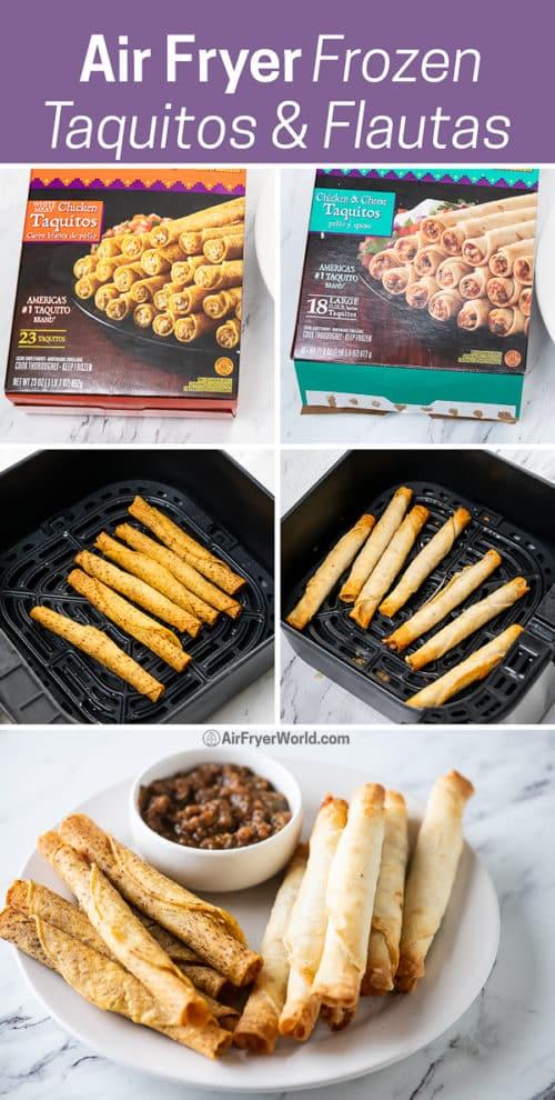 Air Fryer Frozen Taquitos or Flautas in Air Fried step by step photos