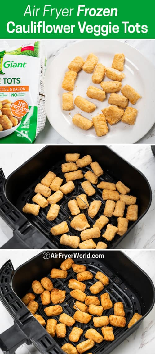 Air Fryer Frozen Cauliflower Veggie Tots step by step photos