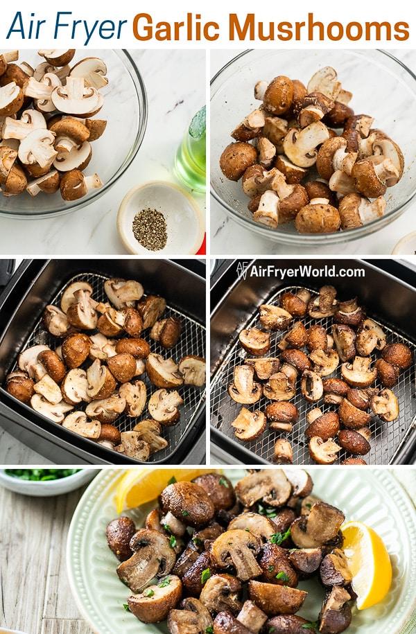 Air Fried Garlic Mushrooms Recipe in the Air Fryer step by step photos