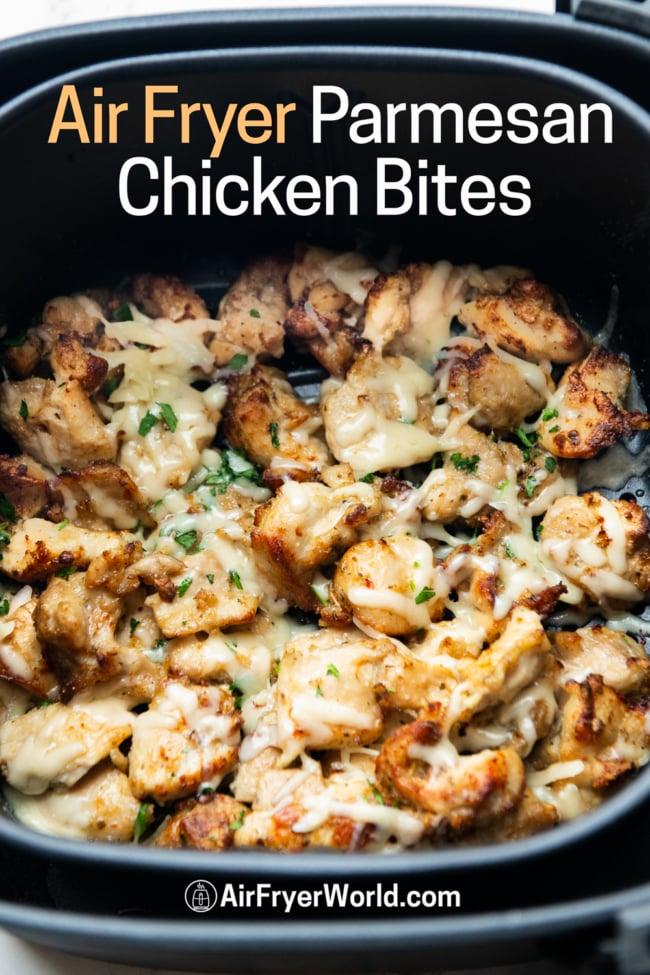 Cooked chicken bites in air fryer basket