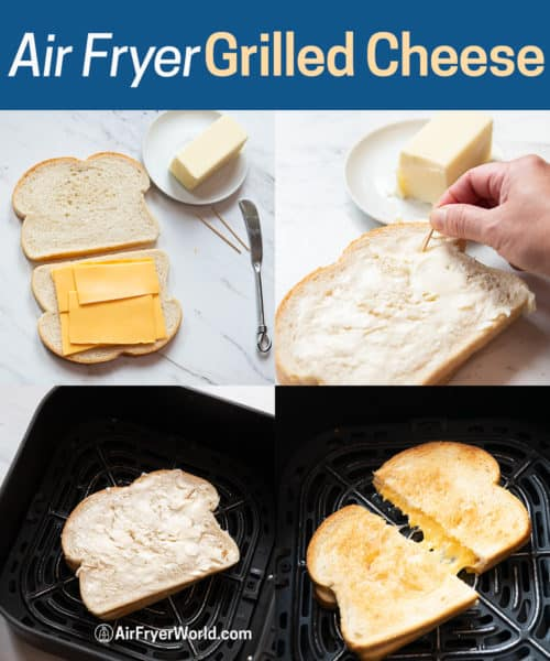 Step by Step Images Making Air Fryer Grilled Cheese Recipe