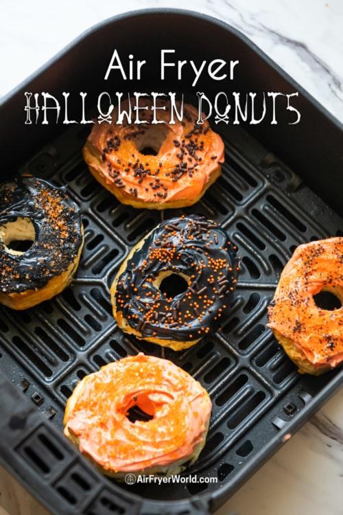 Air Fryer Halloween Donuts in basket