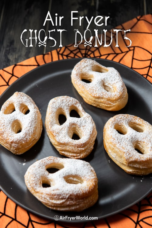 air fryer halloween donuts on plate
