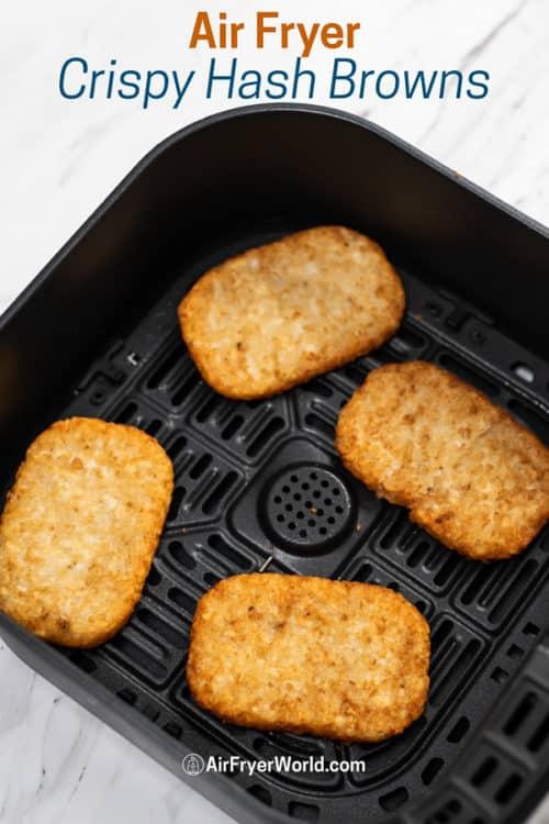 Air Fried Frozen Hash Brown Patties Crispy Easy in a basket
