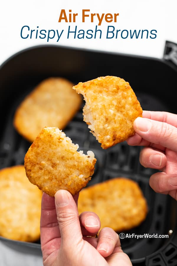 Air Fried Frozen Hash Brown Patties Crispy Easy hands splitting patty into two