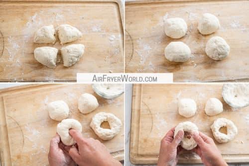 dough cut into 4 pieces