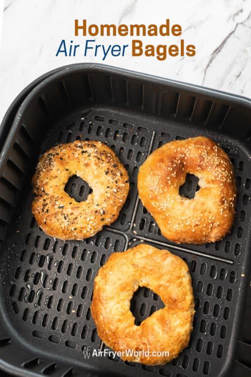 Air Fried Bagels Recipe in Air Fryer in a basket