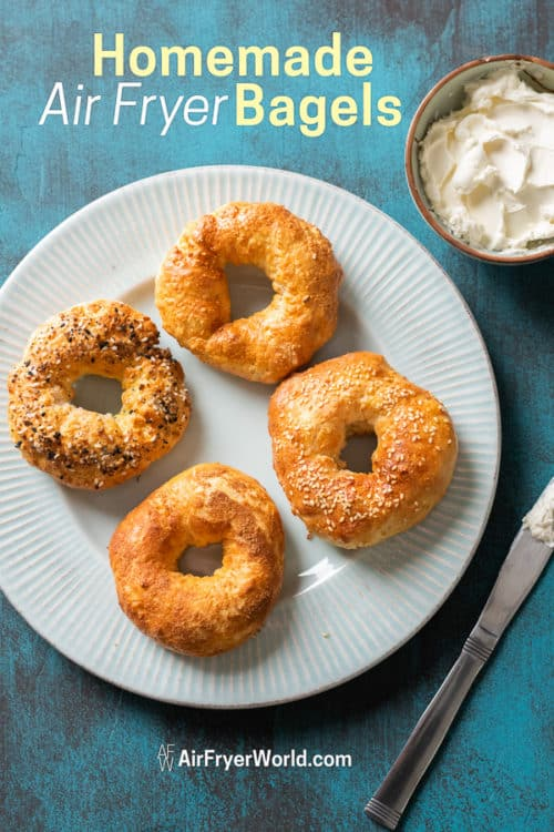 Air Fried Bagels Recipe in Air Fryer on a plate