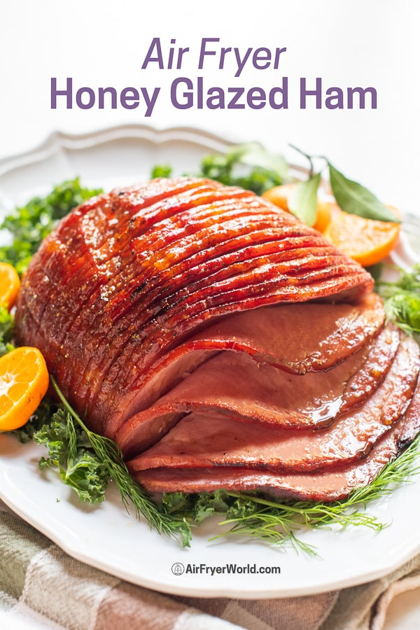 Air Fryer Honey Glazed Ham : Easy Air Fried Recipe on a plate